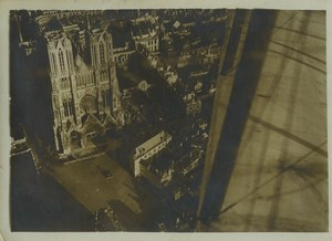 France Aerial view of Reims cathedral taken by airplane Aviation Old Photo 1910