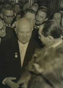France Paris Nikita Khrushchev & Mendes-France portrait Old Photo 1960