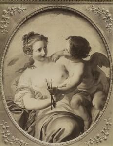 Musée du Louvre, peinture: l'Innocence et l'Amour par Coypel Ancienne Photo Neurdein 1890