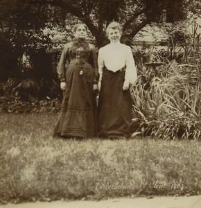 Allemagne/France Alsace Niederbronn 2 Dames dans un Jardin Ancienne Photo 1903