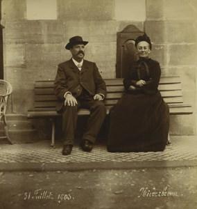 Allemagne/France Alsace Niederbronn Couple sur un Banc Ancienne Photo 1903