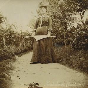 Allemagne/France Alsace Niederbronn Dame 7 Parapluie 6 Anciennes Photos 1901