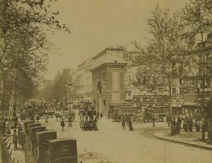 France Paris Porte Saint Martin Taxis Chevaux Omnibus Ancienne Photo Neurdein 1900