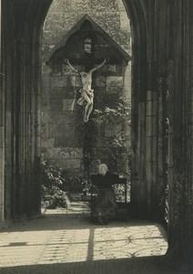 Republique Tcheque Prague Eglise Dame faisant une Priere Ancienne Photo 1935
