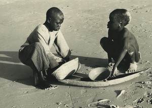 Africa Senegal? Young Boys on Sand Beach Old Photo Duchemin 1970's