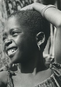 Africa Ivory Coast Smiling Young Girl Portrait Old Photo Defossez 1970's