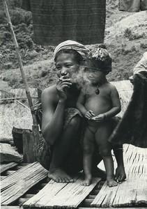 Thailand Chiang Rai mother and child portrait Old Photo Defossez 1970's