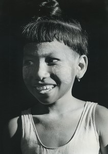 Burma Pagan young girl portrait Old Photo Defossez 1970's