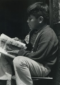 Mexico young boy reading Old Photo Defossez 1970's