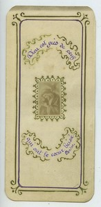 France Christ carrying the Cross old Holy card circa 1900 with small photo