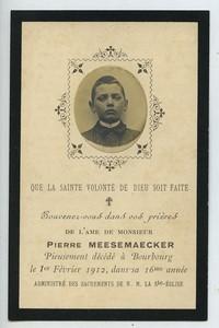 France Bourbourg Pierre Meesemaecker Image Mortuaire 1912 avec petite photo