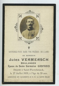 France Saint-Pierre-Brouck Jules Vermersch Death Holy card 1919 with small photo