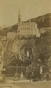 France Lourdes Basilica & Grotto Old CDV Photo Viron circa 1872