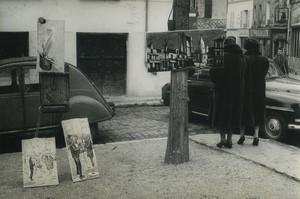 Paris Montmartre les peintres place du Tertre un dimanche matin ancienne Photo Huet 1970