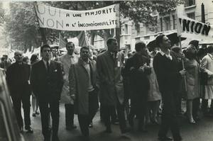 Paris pro De Gaulle Demonstration Old photo Huet 1968, june 4