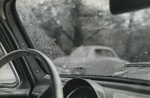 France Rainy Day Inside a car Artistic Study Old photo Huet 1970 #1