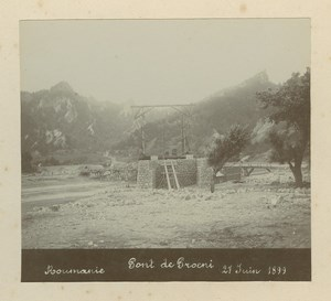 Romania Proieni Bridge under Construction old Anonymous Photo 1899