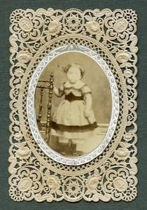 France Religion Holy Card Portrait Photo Albumen on Lace Paper 1870's