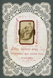 France Religion Holy Card Photo Albumen on Lace Paper 1870's