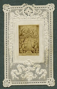 France Religion Holy Card Fourvieres Photo Albumen on Lace Paper Letaille 1870's
