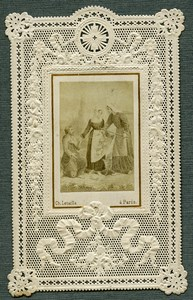 France Religion Holy Card Photo Albumen on Lace Paper Letaille 1870's