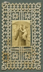 France Religion Holy Card Anthony of Padua Photo Albumen on Lace Paper 1870's