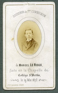 France St Omer Religion Holy Card Communion Photo Albumen on CDV Houppe 1872