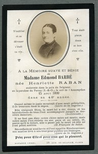 France Religion Holy Card In memoriam Henriette Raban Old Photo Bouasse 1899