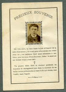 France Religion Holy Card In memoriam Paul Lambret Old Photo Liegois 1899
