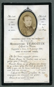 France Religion Holy Card In memoriam Modestine Teroitin Old Photo 1892