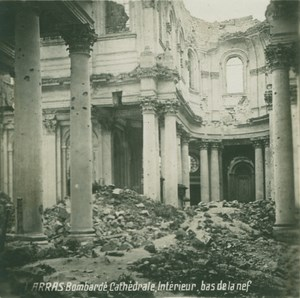 France WWI Arras Cathedral Interior Ruins old SIP Photo 1914-1918
