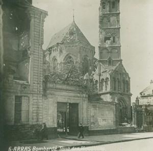 France WWI Arras Tour des Ursulines Damaged Bombardment old SIP Photo 1914-1918