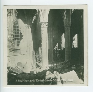 France WWI Soissons Church Interior Ruins Bombardments old SIP Photo 1918