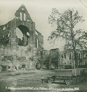 France WWI Longpont Abbey & Castle Ruins Destruction old SIP Photo 1918