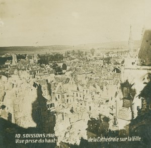 France WWI Soissons Panorama Bombardments Aftermath old SIP Photo 1918