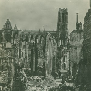 France WWI Reims Cathedral Ruins Bombardments old SIP Photo 1914-1918