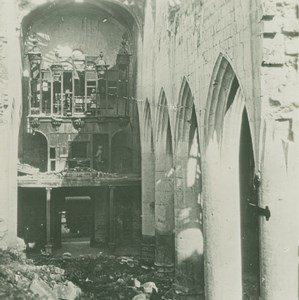 France WWI Soissons Cathedral Ruins Bombardment old SIP Photo 1914-1918