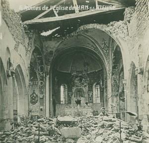 France WWI Han sur Meuse Church Ruins Destruction old SIP Photo 1914-1918