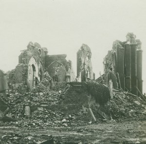 France WWI Mesnil Saint Nicaise Somme Ruins Destruction old SIP Photo 1914-1918
