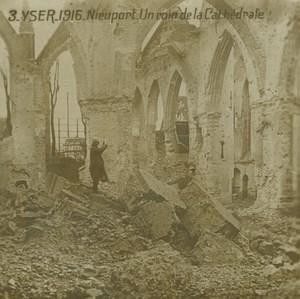 Belgium WWI Yser Nieuwpoort Cathedral Ruins Destruction old SIP Photo 1916
