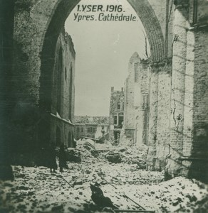 Belgium WWI Yser Ypres Cathedral Ruins Destruction old SIP Photo 1916