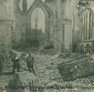 Belgium WWI Nieuwpoort Cathedral Ruins Destruction old SIP Photo 1914-1918