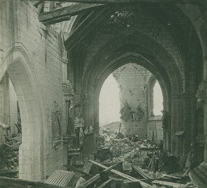 Belgium WWI Church Interior Ruins Destruction near Ypres ? SIP Photo 1914-1918