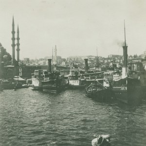 Turkey WWI Constantinople General View Harbor Steamers old SIP Photo 1914-1918