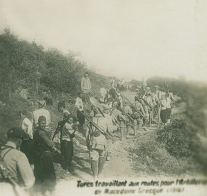 Greek Macedonia WWI Turks Road Works for Artillery old SIP Photo 1916