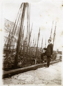 North Yorkshire Scarborough Harbour Fishing Trawlers old Amateur Photo 1900