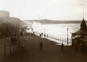 North Yorkshire Scarborough Rough Sea Boardwalk Holidays old Amateur Photo 1900