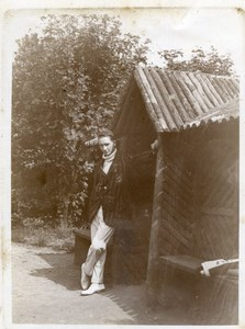 North Yorkshire Scarborough Young Man by Wooden Shelter old Amateur Photo 1900