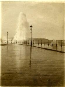 North Yorkshire Scarborough Rough Sea Boardwalk Panorama old Amateur Photo 1900