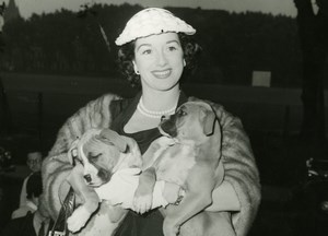 Smiling Actress Dawn Addams ? & Puppy Dogs Old Press Photo 1950's